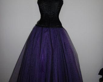 Tutu Skirt Long Black Purple BARGAIN Wedding Gypsy Fairy FLARE FREE Petticoat Tulle Goth Formal Lined