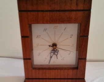 Collectible 1960's Design Wooden Mantel & Wall Clock - Battery Operated
