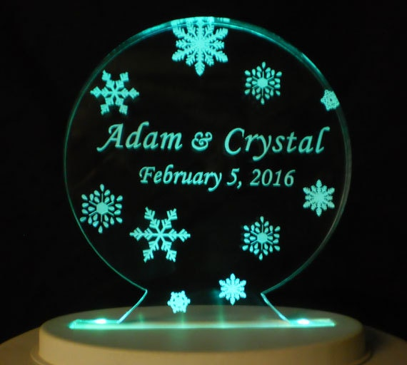 Snow Globe Wedding Cake Topper  - Engraved & Personalized
