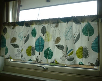 teal cafe curtain | etsy