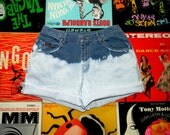 High Waisted Denim Shorts, Vintage 90s Blue and White Bleached LEE Jean Cut Offs - Frayed, Cuffed, Naturally Distressed Size 8 Medium M
