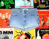 High Waisted Denim Shorts - 90s Stone Washed GAP Stretch Jean Shorts - Cut Off, Frayed, Rolled Up, Faded, Distressed Size 10 L