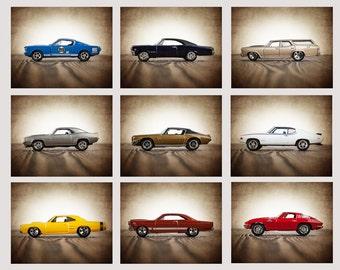 Vintage Muscle Cars Set of Nine Photo Prints, Nursery Decor, Rustic Decor , Boys Wall Art, Car Prints, Boys Wall Art, Boys Room Decor