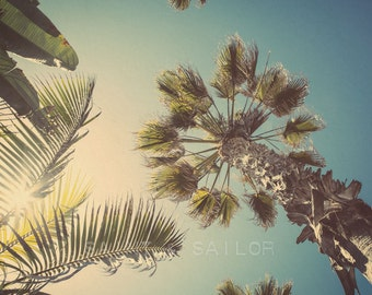 California Palm Tree Sunburst, Surf Decor,  beach photos, , yellow, turquoise, sunset, retro, vintage surf home decor, boys room