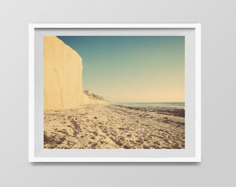 Beach Cliffs, Surf Decor,  beach photos, , yellow, turquoise, sunset, retro, vintage surf home decor, boys room