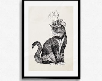 Magus Wizard Cat - Graphite | Signed A3 print