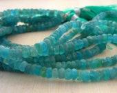Rough neon blue apatie rondelle beads 4-4.5mm 1/2 strand