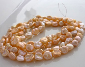 Pale peach keshi nugget pearls 4-7mm 1/2 strand