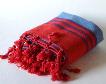 turkish towel, peshtemal, bath & beach towel, high quality, red blue, striped, sofa cover, yoga sport spa towel, tablecloth, blanket, throw