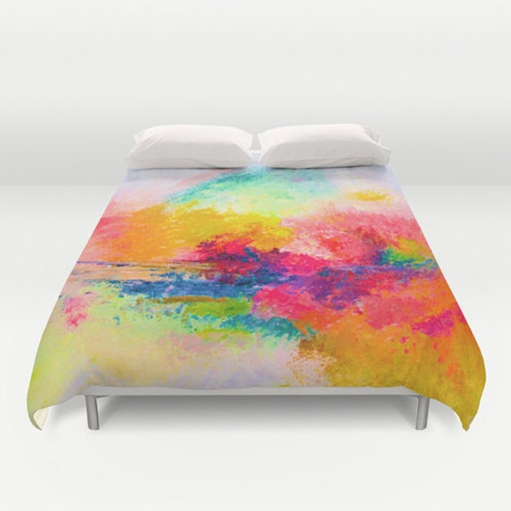 Colorful Abstract Painting Print Duvet Cover. A bright, fun, and unique way to add more art into your home. Choose from two sizes.
