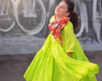 Girl's Chartruese Swing Dress ONE available