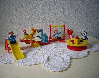 Vintage McDonalds Raggedy Ann & Andy PVC Figure Play Set Toys, 1988. Complete plus extras