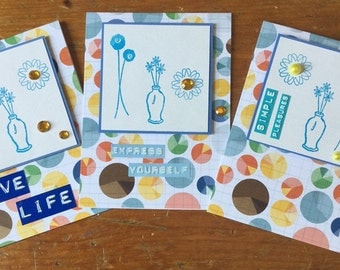 Card Set of Three Encouragement Cards, Blank Cards with Love Life, Express Yourself, and Simple Pleasures, Cards for Letter Writer