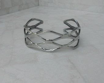Fishnet Cuff Bracelet, Stainless steel Cuff, Artisan Jewelry
