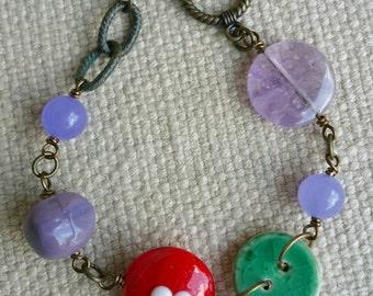 Beaded heart and amethyst bracelet