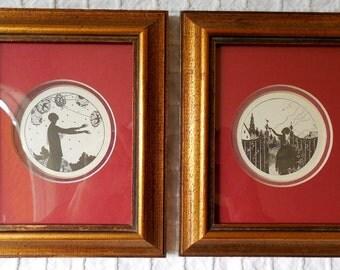 Pair Framed Art Deco Miniature Silhouette Prints