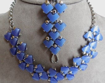 Vintage Geometric Blue Thermoset Choker Necklace & Bracelet Set    MBO10
