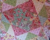 Quilted octagonal table topper summer flowers topper cottage chic quilted octagon