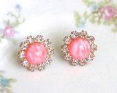 Swarovski Pink Round Vintage Rhinestone Post Earrings - Wedding, Bridal,Bridesmaid, Tropical, Beach