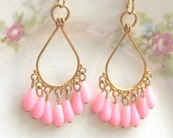 Pink  Gold Drop Dangle Earrings - Gold and Pink Teardrop Earrings - Boho,Wedding,Statement Earrings,Bridesmaid, Beach Jewelry