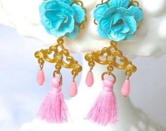 Pink Tassel Earrings Aqua Blue Flower Bead Brass Gold Drop Dangle Earrings - Wedding, Beach, Statement Earrings, One of a Kind, Bridesmaid