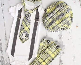 Baby Boy 1st or 2nd Birthday Outfit Complete set of 4 Items. Gray Yellow Arayle Plaid Tie w Number 1 or 2, Button Leg Warmers, & Newsboy Hat
