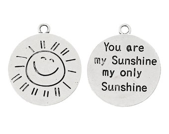 "1 or 2 or 4 or 10 pcs. Antique Silver ""You Are My Sunshine"" Charms Pendants - 28mm X 24mm"