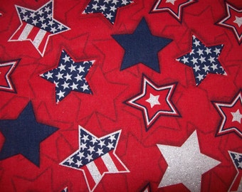 Per Yard Red Patriotic Fabric for Quilting, Patriotic Decor, Memorial Day Fabric/ Independence Day Fabric/ Patriotic Novelty Fabric