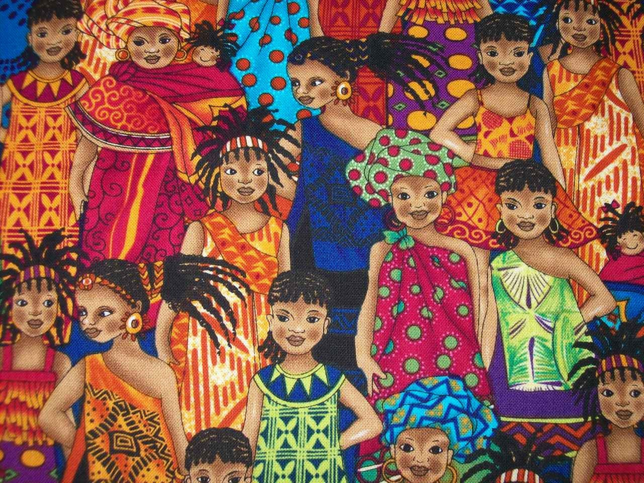 Rare Out Of Print Fabric African Girls Kenta By Timeless