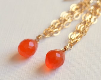 Carnelian Earrings, Orange Gemstone Jewelry, Bright Earings, Gold Filled Chain, French Hook Earwires, Free Shipping