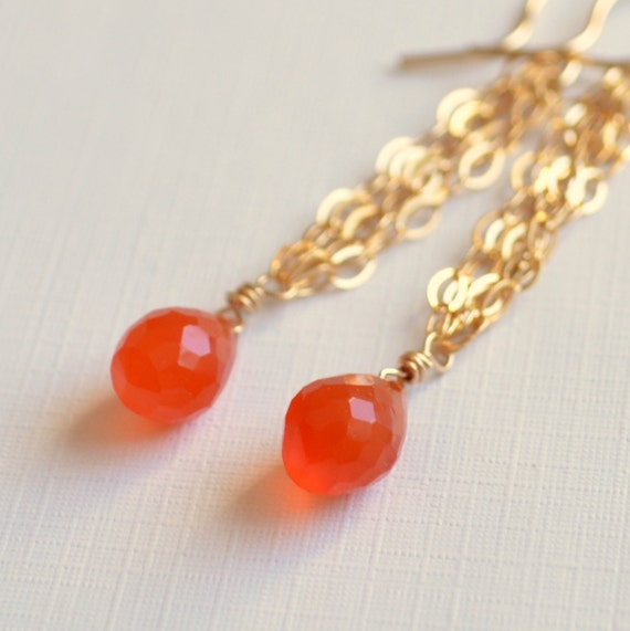 Carnelian Earrings, Orange Gemstone Jewelry, Bright Earings, Gold Filled Chain, French Hook Earwires, Free Shipping