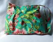 Pleated Tote Bag with Adjustable Strap in Bliss Bouquet Teal