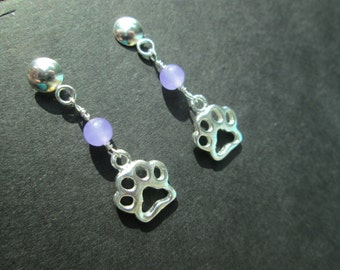 Sterling silver paw print earrings with lavender jade- posts- Pet Rescue