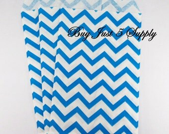 100 Ocean Blue and White Paper Gift Bags - Just 5 Bucks - For Candies, Soaps, Jewelry, Pendants, Shower Favors, Wedding Favors