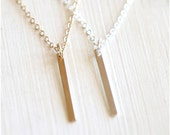 Dainty Slim Bar Layering Necklace // Sterling Silver or 14K Gold Filled