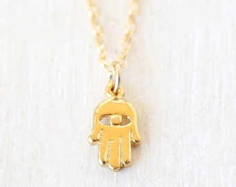 Dainty Layering Evil Eye Hamsa Necklace // 14K Gold Filled //