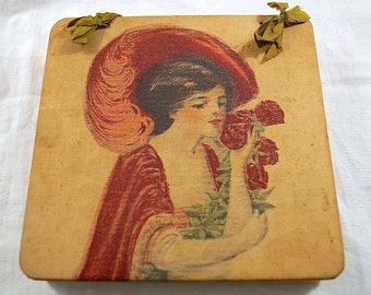 Antique 1920s Fabric Box with Hand Painted Lady with Hat and Flowers / 1920s Art Deco Fabric Covered Box with Hand Painting  of Gibson Girl