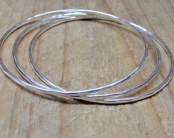 Stacking Bangle Set of 3 Heavy Solid Sterling Silver Bracelets Hammered Texture Finish Custom Made Your Size Handcrafted Stackable Bangles