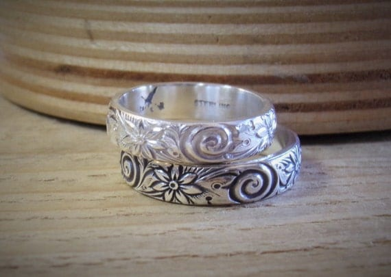 Heavy Antique Style Stacking Ring Sterling Silver Band Perfect Thumb Ring