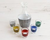 Vintage Decanter and shot glass set - Houndstooth French Drinking serving display colour barware glassware