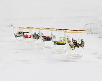 Vintage Shot Glasses Car Glass Barware For Him Mens classic Motor Red Green Yellow Gold Rim Austin Morris Rolls Royce 6