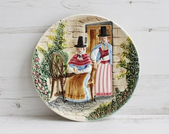 Vintage West Germany Plate - Hanging Spinning Wool Women Wall Decor