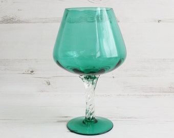 Vintage Green Brandy Shaped Glass - Emerald Compote Vase Candle Decorative Display Trifle