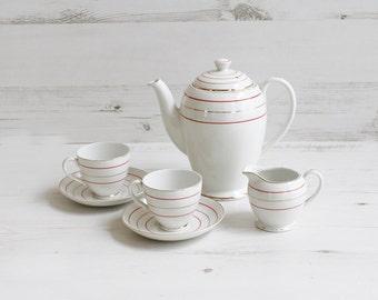 Vintage Teacup set - Maddock Creamer saucer red gold stripe kitchenware pottery afternoon tea