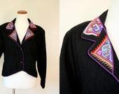 Free USA shipping! Vintage Jacket / 90s Black Thai Embroidered Cotton Blazer / Medium