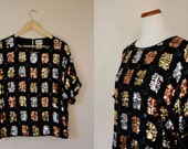 Free USA shipping! Vintage Blouse / 70s Sequin Top / Medium