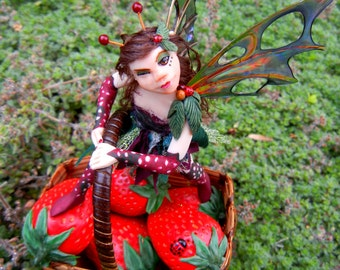 "Strawberry Fairy, OOAK Faery Sculpture, Hand Sculpted Berry Faerie Art Doll, Boho Fairy, ""The Berry Thief"""