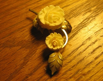 Vintage Cultra 14k GF Carved Cream Rose Brooch
