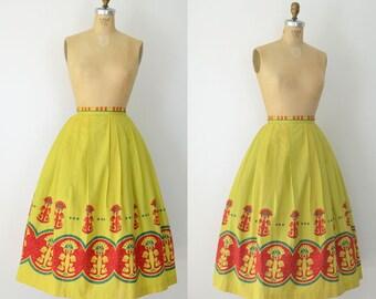 1950s Hawaiian Print Skirt / 50s Cotton Skirt