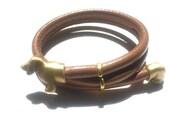 Dachshund Bracelet - Brass and Faux Leather Wrap